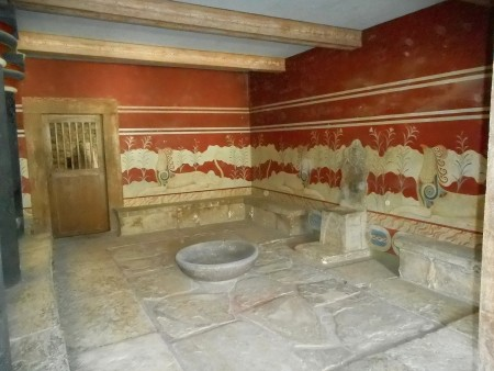 Throne room at Knossos Palace Crete