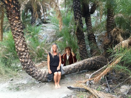 Geni Morrow makes a hobbit in the Palm Forest.