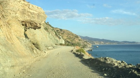 The one lane southern road from Preveli Beach.
