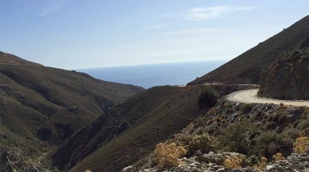 The winding road to Preveli Beach.