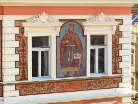 King Karel IV painted on an apartment building in Prague