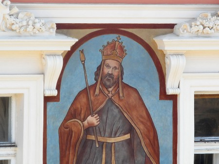 King Karel IV painting on Prague apartment building, closeup